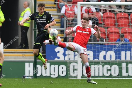 Rotherham United player Caolan Lavery (31) and Bristol Rovers defender Tom Lockyer (4) during the EFL Sky Bet League 1 match between Rotherham United and Bristol Rovers at the AESSEAL New York Stadium, Rotherham. Picture by Ian Lyall