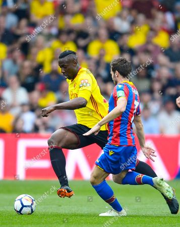 Stock Image of Stefano Okaka of Watford and Yohan Cabaye of Crystal Palace