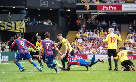 Stock Picture of Wilfried Zaha (11) of Crystal Palace, Yohan Cabaye (7) of Crystal Palace, Ruben Loftus-Cheek (8) of Crystal Palace, Watford (16) Abdoulaye Doucouré, Watford (19) Will Hughes, Watford (6) Adrian Mariappa  during the Premier League match between Watford and Crystal Palace at Vicarage Road, Watford. Picture by Sebastian Frej