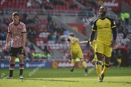 Burton Albion striker Darren Bent (9) celebrates as Liam Boyce (27) scores to make the score 2-1 during the EFL Sky Bet Championship match between Sunderland and Burton Albion at the Stadium Of Light, Sunderland. Picture by Richard Holmes