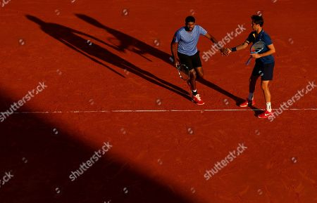 Rohan Bopanna of India and Edouard Roger Vasselin of France in doubles action