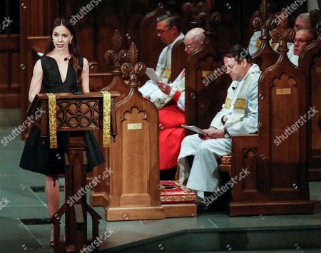 Barbara Pierce Bush does a reading from the Bible during the funeral for her grandmother, former first lady Barbara Bush at St. Martin's Episcopal Church in Houston, Texas, USA, 21 April 2018. Barbara Bush, wife of the Forty First President of the United States George H. W. Bush, died at the age of 92, on 17 April 2018.