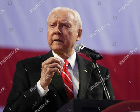 Utah U.S. Senator Orin Hatch speaks at the Utah Republican 2018 nominating convention, in West Valley City, Utah. Mitt Romney is facing nearly a dozen Republican contenders in Utah on Saturday as he works to secure the state GOP nomination for a Senate seat without a primary