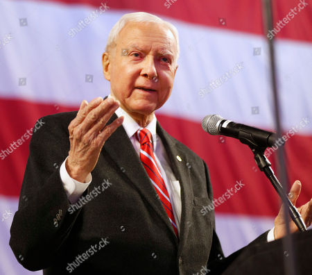 Stock Photo of Utah U.S. Senator Orin Hatch speaks at the Utah Republican 2018 nominating convention, in West Valley City, Utah. Mitt Romney is facing nearly a dozen Republican contenders in Utah on Saturday as he works to secure the state GOP nomination for a Senate seat without a primary