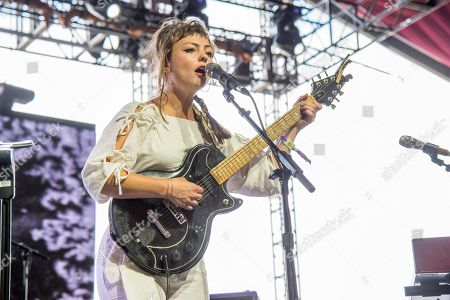 Angel Olsen performs at the Coachella Music & Arts Festival at the Empire Polo Club, in Indio, Calif