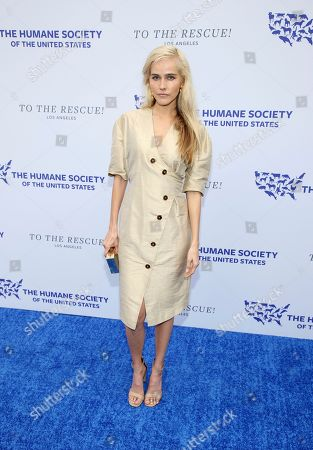Isabel Lucas walks the red carpet at the Humane Society of the United States' To the Rescue! Los Angeles gala. The gala was held at Paramount Studios and benefitted the HSUS' Farm Animal Protection campaign. Competitive Surfer Conrad Carr, undercover investigators Whitney Warrington and Mary Beth Sweetland, and law firm Latham & Watkins, LLP were honored at the event, which featured performances by Moby. (Photo by