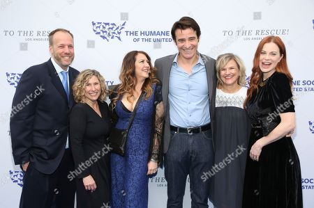Jeffrey Flocken, Kitty Block, Joely Fisher, Goran Visnjic, Donna Gadomski, Kristin Bauer van Straten. Jeffrey Flocken, Senior Vice President of Programs and Policy at Humane Society International, from left, Kitty Block, president and chief executive officer of The Humane Society of the United States, Joely Fisher, Goran Visnjic, Donna Gadomski and Kristin Bauer van Straten walk the red carpet at the Humane Society of the United States' To the Rescue! Los Angeles gala. The gala was held at Paramount Studios and benefitted the HSUS' Farm Animal Protection campaign. Competitive Surfer Conrad Carr, undercover investigators Whitney Warrington and Mary Beth Sweetland, and law firm Latham & Watkins, LLP were honored at the event, which featured performances by Moby. (Photo by