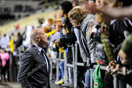 New England Revolution head coach, Brad Friedel talking to fans after the match between New England Revolution and Columbus Crew SC at MAPFRE Stadium, in Columbus OH. ..Score - Columbus Crew SC 2 - New England Revolution 2 ..Mandatory Photo Credit: Dorn Byg/CSM