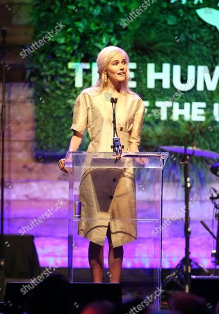Isabel Lucas speaks at the Humane Society of the United States' To the Rescue! Los Angeles gala. The gala was held at Paramount Studios and benefitted the HSUS' Farm Animal Protection campaign. Competitive surfer Conrad Carr, undercover investigators Whitney Warrington and Mary Beth Sweetland, and law firm Latham & Watkins, LLP were honored at the event, which featured performances by Moby. (Photo by
