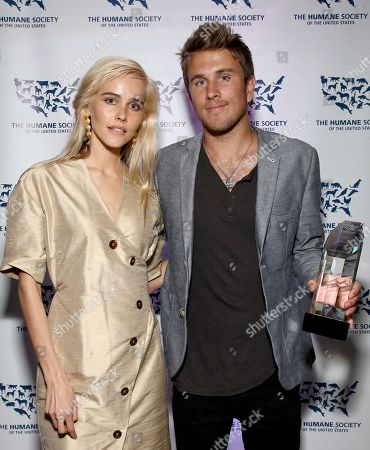 Isabel Lucas, Conrad Carr. Isabel Lucas, left, and Conrad Carr, winner of the Humane Hero Award, pose backstage at the Humane Society of the United States' To the Rescue! Los Angeles gala. The gala was held at Paramount Studios and benefitted the HSUS' Farm Animal Protection campaign. Competitive surfer Conrad Carr, undercover investigators Whitney Warrington and Mary Beth Sweetland, and law firm Latham & Watkins, LLP were honored at the event, which featured performances by Moby. (Photo by