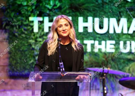 Stock Image of Kimberly Ovitz speaks at the Humane Society of the United States' To the Rescue! Los Angeles gala. The gala was held at Paramount Studios and benefitted the HSUS' Farm Animal Protection campaign. Competitive surfer Conrad Carr, undercover investigators Whitney Warrington and Mary Beth Sweetland, and law firm Latham & Watkins, LLP were honored at the event, which featured performances by Moby. (Photo by