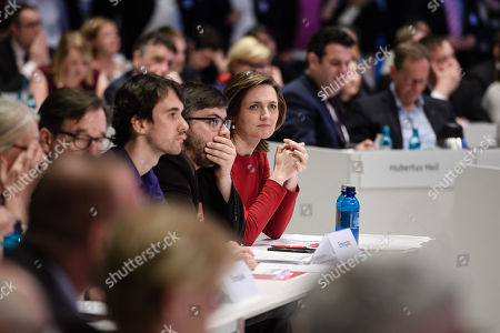 Flensburg Mayor and candidate for SPD leadership Simone Lange (C) during an extraordinary Social Democrats (SPD) party convention in Wiesbaden, Germany, 22 April 2018. The SPD delegates gathered in Wiesbaden to vote for their next party leader electing Nahles as the first woman into this party office.