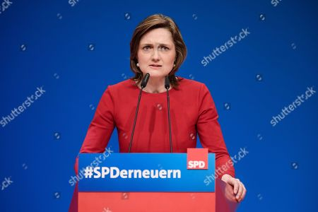 Flensburg Mayor and candidate for SPD leadership Simone Lange speaks during an extraordinary Social Democrats (SPD) party convention in Wiesbaden, Germany, 22 April 2018. The SPD delegates gathered in Wiesbaden to vote for their next party leader electing Nahles as the first woman into this party office.