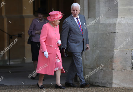 Stock Photo of Queen Elizabeth II and Sir John Spurling at Winsdor Castle