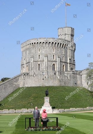 Stock Picture of Queen Elizabeth II and Sir John Spurling at Winsdor Castle