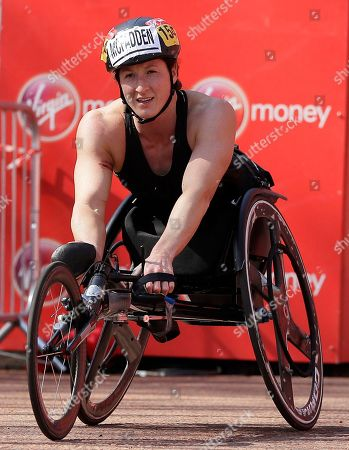 Tatyana McFadden of the United States after finishing second in the Women's wheelchair race of the London Marathon in central London