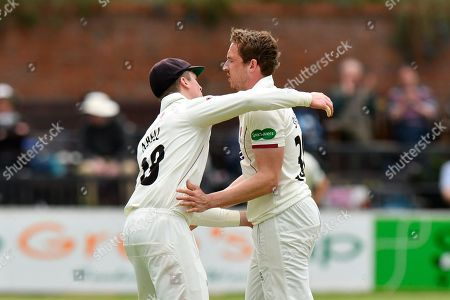 Wicket - Josh Davey of Somerset celebrates taking the wicket of Ben Cox of Worcestershire during the Specsavers County Champ Div 1 match between Somerset County Cricket Club and Worcestershire County Cricket Club at the Cooper Associates County Ground, Taunton. Picture by Graham Hunt