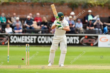 Wicket - Ben Cox of Worcestershire is bowled by Josh Davey of Somerset during the Specsavers County Champ Div 1 match between Somerset County Cricket Club and Worcestershire County Cricket Club at the Cooper Associates County Ground, Taunton. Picture by Graham Hunt