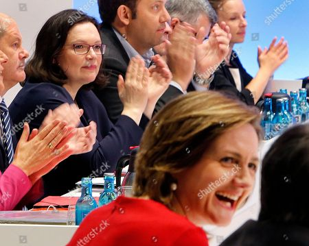 Candidates for SPD leadership Andrea Nahles, left, and Simone Lange sit in the plenum before the election during a party meeting of German Social Democrats in Wiesbaden, Germany