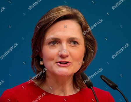 Candidate for SPD leadership Simone Lange speaks during a party meeting of German Social Democrats in Wiesbaden, Germany
