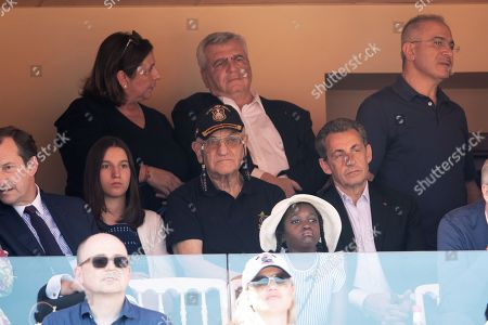Stock Picture of Nicolas Sarkozy, Thierry Herzog and his wife attend the semi-final of Monte Carlo Rolex Masters between Nadal of Spain and Dimitrov of Bulgaria