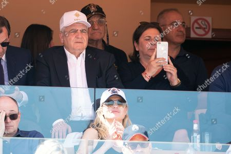 Stock Photo of Thierry Herzog and his wife attend the semi-final of Monte Carlo Rolex Masters between Nadal of Spain and Dimitrov of Bulgaria