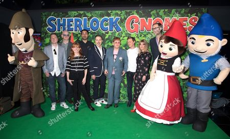 (L-R) Steve Hamilton Shaw, John Stevens, Carolyn Soper, Jamie Demetriou, Sir Elton John, James McAvoy, Ashley Jensen and Stephen Merchant