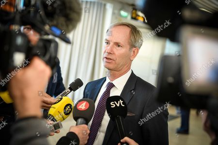 Sweden's Ambassador to the UN Olof Skoog speaks to journalists during a press conference at Sturup airport, Malmo, Sweden, 22 April 2018. The annual informal UN Security Council meeting took place at Backakra, the estate of Dag Hammarskjold, who served as UN Secretary-General from 1953 until his death in a plane crash in September 1961.
