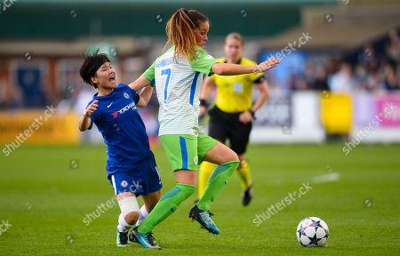 Ji So Yun of Chelsea Ladies and Sara Bjork Gunnarsdottir of Vfl Wolfsburg