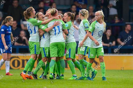 Sara Bjork Gunnarsdottir of Vfl Wolfsburg scores and celebrates 1-1