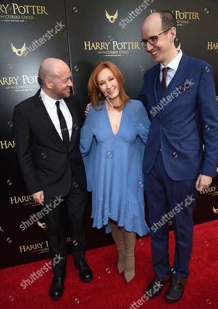 """John Tiffany, J.K. Rowling, Jack Thorne. Director John Tiffany, left, author J.K. Rowling and playwright Jack Thorne attend the """"Harry Potter and the Cursed Child"""" Broadway opening at the Lyric Theatre, in New York"""
