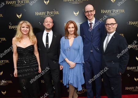 """Sonia Friedman, John Tiffany, J.K. Rowling, Jack Thorne, Colin Callender. Producer Sonia Friedman, left, director John Tiffany, author J.K. Rowling, playwright Jack Thorne and producer Colin Callender pose together at the """"Harry Potter and the Cursed Child"""" Broadway opening at the Lyric Theatre, in New York"""
