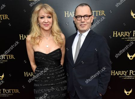 """Sonia Friedman, Colin Callender. Producers Sonia Friedman, left, and Colin Callender attend the """"Harry Potter and the Cursed Child"""" Broadway opening at the Lyric Theatre, in New York"""