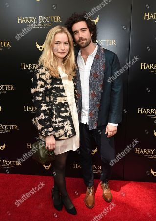 "Stock Image of Willa Fitzgerald, Gabe Kennedy. Willa Fitzgerald, left, and Gabe Kennedy attend the ""Harry Potter and the Cursed Child"" Broadway opening at the Lyric Theatre, in New York"