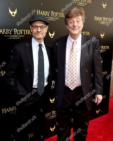 """Stock Photo of David Hyde Pierce, Brian Hargrove. David Hyde Pierce, left, and husband Brian Hargrove attend the """"Harry Potter and the Cursed Child"""" Broadway opening at the Lyric Theatre, in New York"""