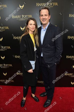 """Stock Image of Sutton Foster, Ted Griffin. Sutton Foster and husband Ted Griffin attend the """"Harry Potter and the Cursed Child"""" Broadway opening at the Lyric Theatre, in New York"""