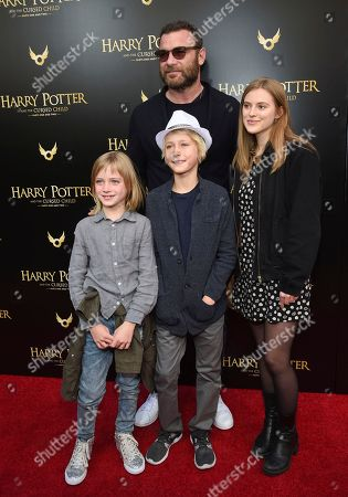 """Liev Schreiber, Taylor Neisen, Samuel Schreiber, Alexander Schreiber. Actor Liev Schreiber poses with his girlfriend Taylor Neisen and his sons Samuel, left, and Alexander at the """"Harry Potter and the Cursed Child"""" Broadway opening at the Lyric Theatre, in New York"""