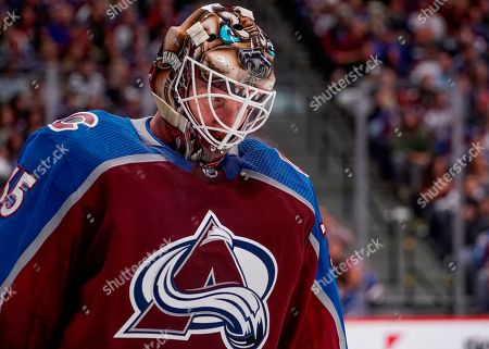 Colorado Avalanche goaltender Andrew Hammond reacts after giving up a goal to the Nashville Predators during the second period in Game 6 of an NHL hockey first-round playoff series, in Denver