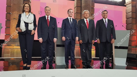 The five candidates for the Presidency of Mexico, Margarita Zavala (L), Jose Antonio Meade (2-L), Ricardo Anaya (C), Andres Manuel Lopez Obrador (2-R), and Jaime Rodriguez (R) pose for phtotograph before the start of a televised presidential debate in Mexico City, Mexico, 22 April 2018. The five primary candidates for the presidency of Mexico gathered to present their proposals on issues of security, the fight against corruption and impunity in the country. The Mexican presidential election are scheduled for 01 July 2018.