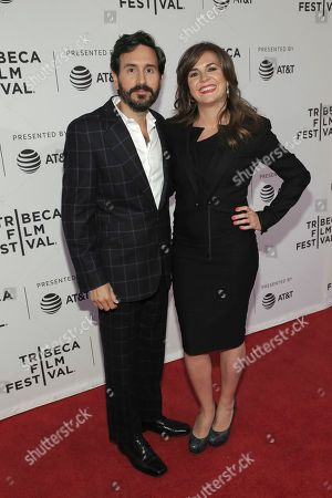 "Peter Sollett, Eva Vives. Peter Sollett, left, and director Eva Vives attend a screening of ""All About Nina"" at the SVA Theatre during the 2018 Tribeca Film Festival on in New York"