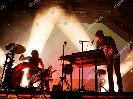 "Kim Schifino, Matt Johnson. Kim Schifino, left, and Matt Johnson of the band Matt and Kim perform in concert during their ""Almost Everyday Tour"" at The Electric Factory, in Philadelphia"