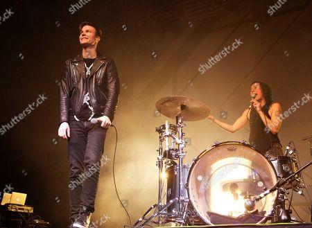 "Matt Johnson, Kim Schifino. Matt Johnson, left, and Kim Schifino of the band Matt and Kim perform in concert during their ""Almost Everyday Tour"" at The Electric Factory, in Philadelphia"