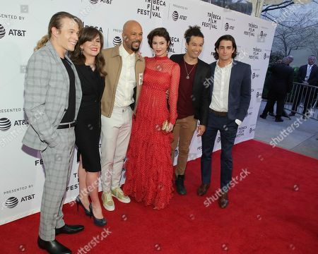 """Stock Image of Jordan Christian Hearn, Eva Vives,Common, Mary Elizabeth Winstead, Sheldon White, Andrew Kai. Actor Jordan Christian Hearn, from left, director Eva Vives, actors Common, Mary Elizabeth Winstead, Sheldon White and Andrew Kai attend a screening of """"All About Nina"""" at the SVA Theatre during the 2018 Tribeca Film Festival on in New York"""