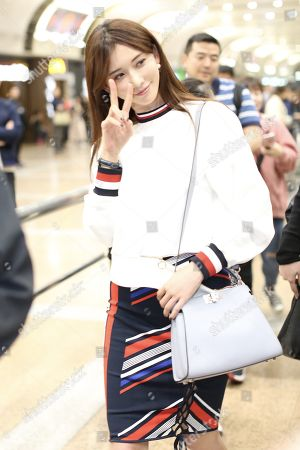 Editorial photo of Lin Chiling at Beijing Capital International Airport, China - 21 Apr 2018