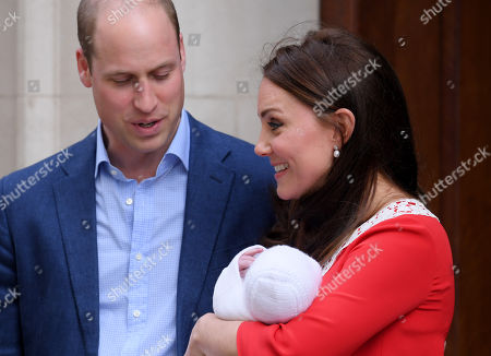 Catherine Duchess of Cambridge and Prince William leaving hospital with their newborn baby boy, Prince Louis