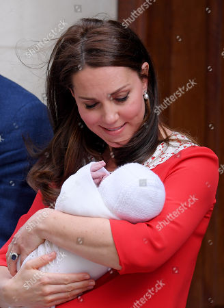 Catherine Duchess of Cambridge leaving hospital with their newborn baby boy, Prince Louis