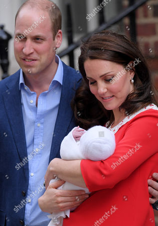 Prince William and Catherine Duchess of Cambridge with newborn son, Prince Louis