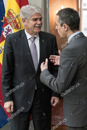 Swiss Federal Councillor Ignazio Cassis (R) welcomes Spanish Foreign Minister Alfonso Maria Dastis Quecedo () in Bern, Switzerland, 23 April 2018. Dastis Quecedo is on an official working visit in Switzerland.