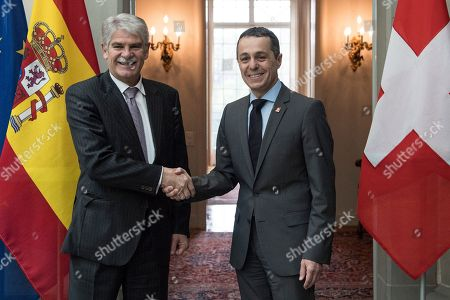 Stock Photo of Swiss Federal Councillor Ignazio Cassis (R) welcomes Spanish Foreign Minister Alfonso Maria Dastis Quecedo () in Bern, Switzerland, 23 April 2018. Dastis Quecedo is on an official working visit in Switzerland.