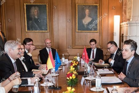 Stock Image of Swiss Federal Councillor Ignazio Cassis (R) and Spanish Foreign Minister Alfonso Maria Dastis Quecedo (L) sit for a meeting in Bern, Switzerland, 23 April 2018. Dastis Quecedo is on an official working visit in Switzerland.